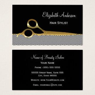 Eleganter Schwarz-und Goldsparren-Friseursalon Visitenkarte