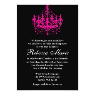 Eleganter Schwarz-und Pink-Leuchter-Schläger 12,7 X 17,8 Cm Einladungskarte