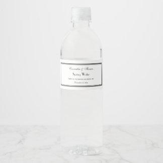 Eleganter schwarzer gerahmter wasserflaschenetikett