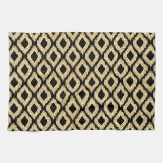 Eleganter schwarzer GoldGlitzer-Stammes- Muster Geschirrtuch