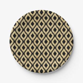 Eleganter schwarzer GoldGlitzer-Stammes- Muster Pappteller