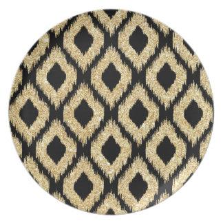 Eleganter schwarzer GoldGlitzer-Stammes- Muster Teller