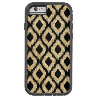 Eleganter schwarzer GoldGlitzer-Stammes- Muster Tough Xtreme iPhone 6 Hülle