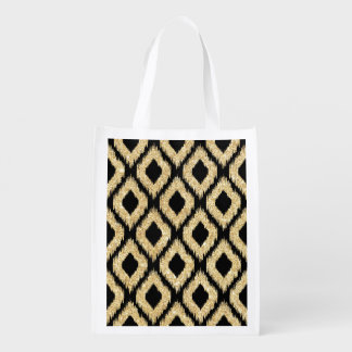 Eleganter schwarzer GoldGlitzer-Stammes- Muster Wiederverwendbare Einkaufstasche