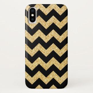 Eleganter schwarzer GoldGlitzer-Zickzack-Zickzack iPhone X Hülle