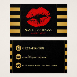 Eleganter schwarzer GoldMaskenbildner Visitenkarten