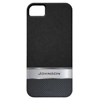 Eleganter schwarzer lederner Blick mit silbernem iPhone 5 Etui
