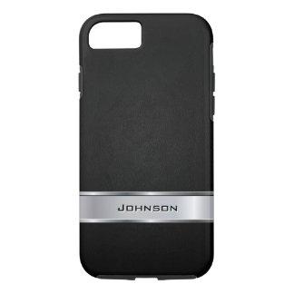 Eleganter schwarzer lederner Blick mit silbernem iPhone 8/7 Hülle