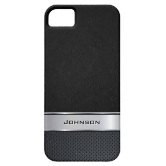 Eleganter schwarzer lederner Blick mit silbernem M iPhone 5 Schutzhülle