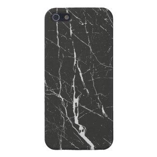 Eleganter schwarzer Marmorstein iPhone 5 Etuis