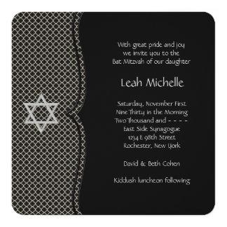Eleganter schwarzer Schläger Mitzvah Quadratische 13,3 Cm Einladungskarte