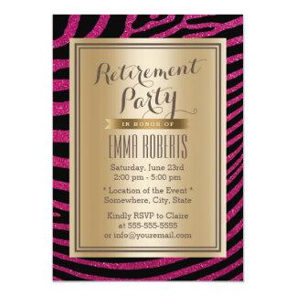 Eleganter schwarzer u. rosa Zebra Stripes 12,7 X 17,8 Cm Einladungskarte
