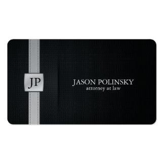 Eleganter schwarzer und silberner Rechtsanwalt am Visitenkarten