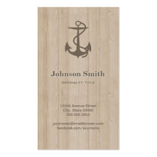 Eleganter Seeanker auf dem Holz - cool und Visitenkarten