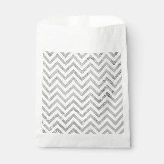 Eleganter silberne Folien-Zickzack Stripes Geschenktütchen