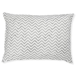 Eleganter silberne Folien-Zickzack Stripes Haustierbett