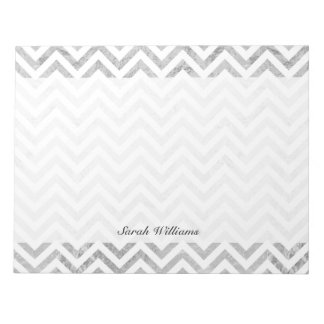 Eleganter silberne Folien-Zickzack Stripes Notizblock