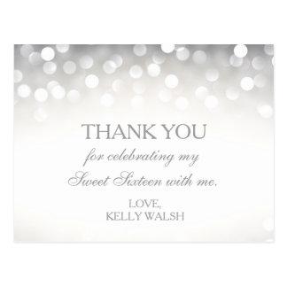 Eleganter silberner Glitter-Bonbon 16 danken Ihnen Postkarte