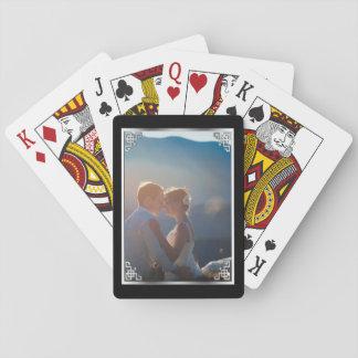 Eleganter silberner schwarzer spielkarten