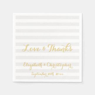 Eleganter Skript-Hochzeitstag-Papierservietten Servietten