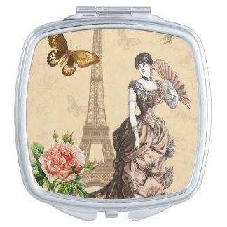 Eleganter Spiegel der Vintagen französischen Mode Taschenspiegel