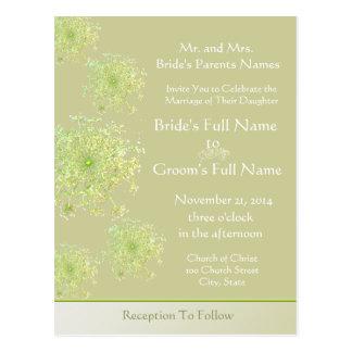 Eleganter Spitze-Hochzeits-Einladung der Postkarte