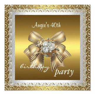 Eleganter Spitze-weißes Goldjuwel-Bogen der Quadratische 13,3 Cm Einladungskarte