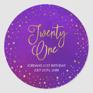 Eleganter Starry lila Watercolor-21. Geburtstag Runder Aufkleber