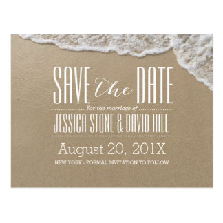 Eleganter Strand u. Meerwasser, das Save the Date Postkarte