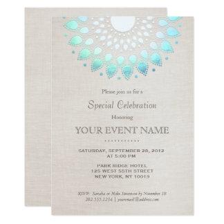Eleganter Türkis-Blau-beige Leinenblick 12,7 X 17,8 Cm Einladungskarte