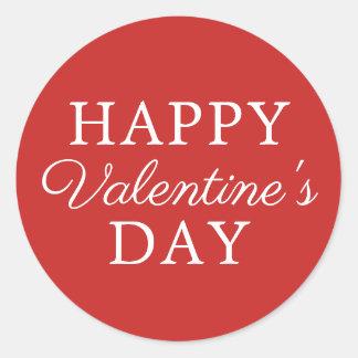 Eleganter unbedeutender roter weißer Valentinstag Runder Aufkleber