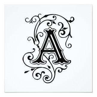 Eleganter viktorianischer Buchstabe ein Monogramm Quadratische 13,3 Cm Einladungskarte