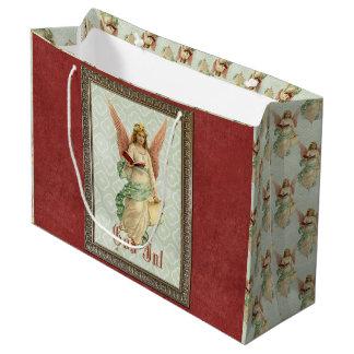 Eleganter viktorianischer Vintager Weihnachtsengel Große Geschenktüte
