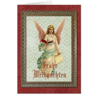 Eleganter viktorianischer Vintager Weihnachtsengel Grußkarte