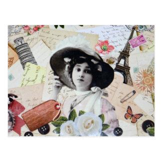 Eleganter Vintage Dame mit Hut, Rosen und Chartas, Postkarte