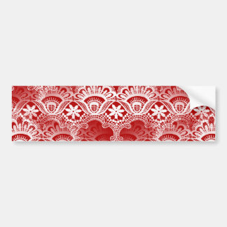 Eleganter Vintager beunruhigter roter weißer Spitz Autosticker