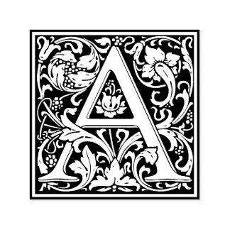 Eleganter Vintager Blumenbuchstabe ein Monogramm Permastempel