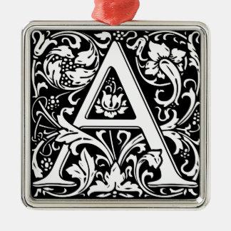 Eleganter Vintager Blumenbuchstabe ein Monogramm Silbernes Ornament