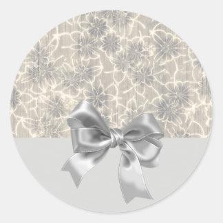 Eleganter Vintager Muster-Grauer mit Blumenbogen Runder Aufkleber