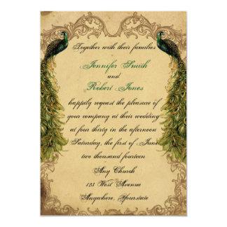Eleganter Vintager Pfau-Posh Hochzeits-Einladung Karte