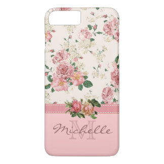 Eleganter Vintager rosa BlumenRosen-Monogramm-Name iPhone 7 Plus Hülle