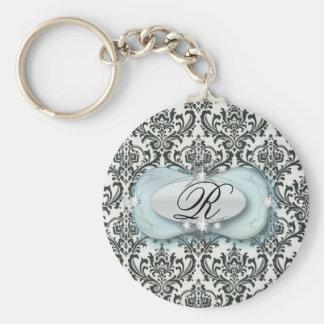 Eleganter Vintager schwarzer blauer Damast Braut Standard Runder Schlüsselanhänger