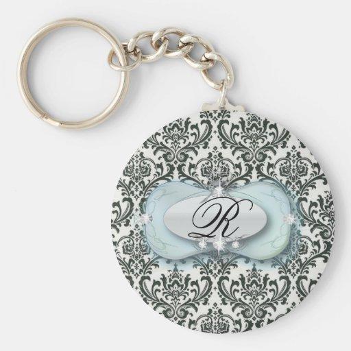 Eleganter Vintager schwarzer blauer Damast Braut Schlüsselband