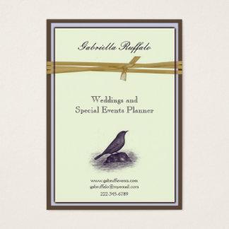 Eleganter Vintager Vogel-Brown-Damast und lila Visitenkarte