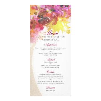 Eleganter Vintager Watercolor-Blumenhochzeits-Menü Werbekarte