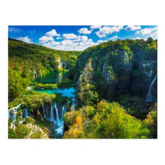 Eleganter Wasserfall landschaftlich, Kroatien Postkarte