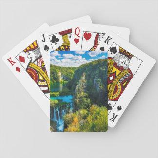 Eleganter Wasserfall landschaftlich, Kroatien Spielkarten