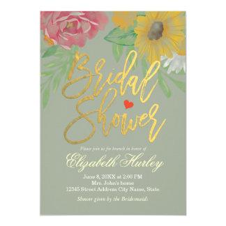 Eleganter Watercolor-BlumenBrautparty-Hochzeit Karte