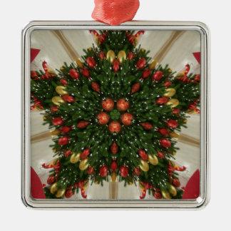 Eleganter WeihnachtsKranz-rotes grünes Silbernes Ornament