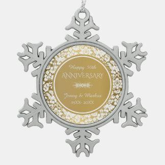 Eleganter Weiß-u. des Gold50. Hochzeitstag Schneeflocken Zinn-Ornament